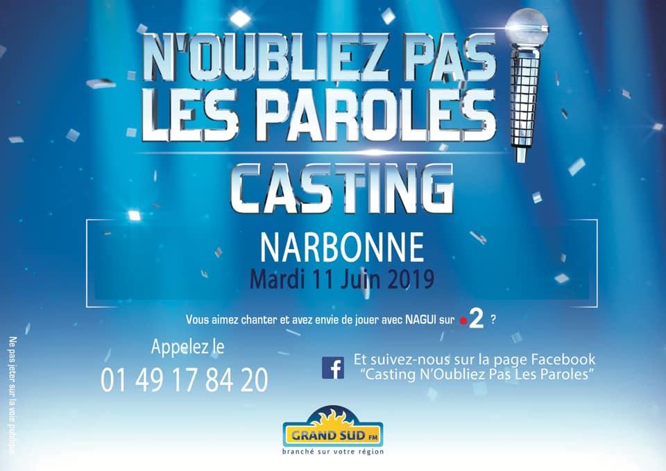 07-06-19 Le directeur du casting de l'émission «N'oubliez pas les paroles !» Anthony PINTO présente la sélection à Narbonne le mardi 11 Juin
