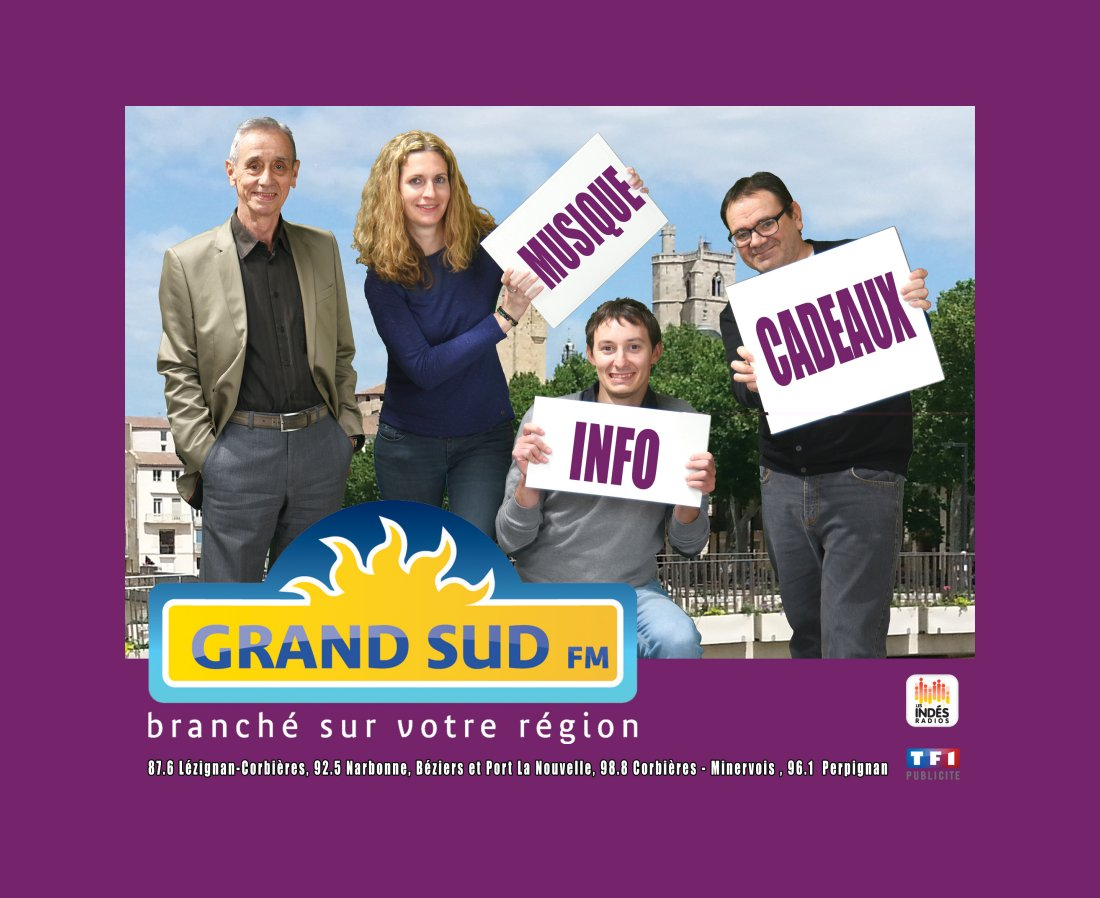 MUSIQUE, INFO, CADEAUX…GRAND SUD FM, VOTRE RADIO DE PROXIMITÉ.
